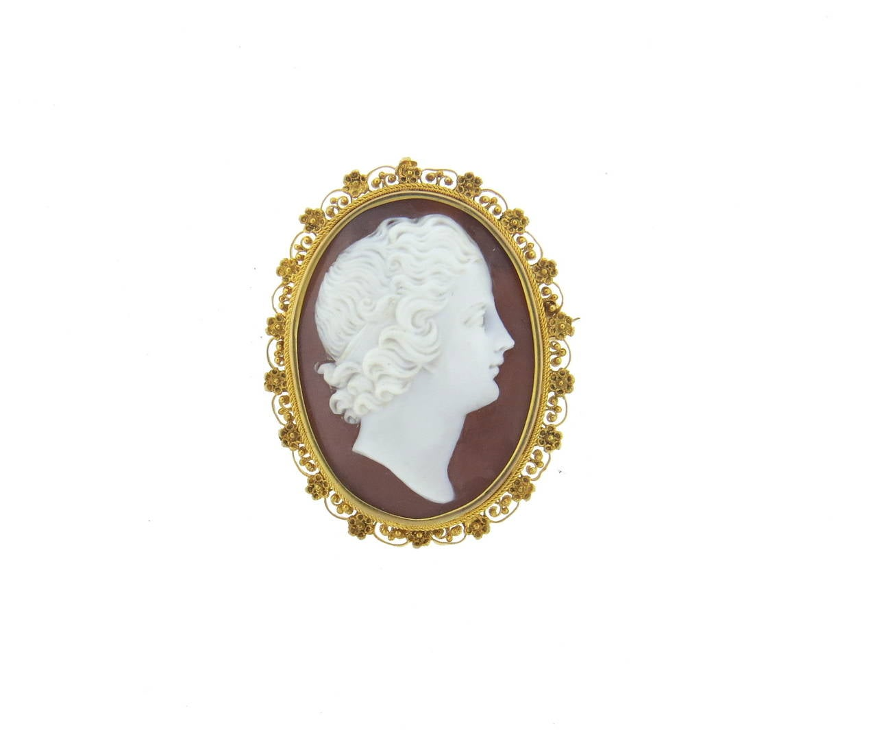 antique filigree gold cameo brooch pendant for sale at 1stdibs