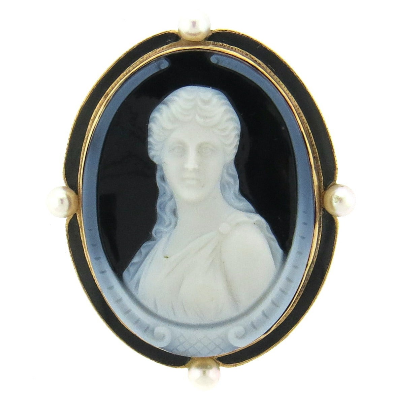 Antique Hardstone Cameo Pearl Enamel Brooch Pendant