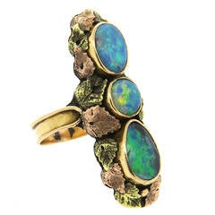 American Arts and Crafts Black Australian Opal Gold Ring