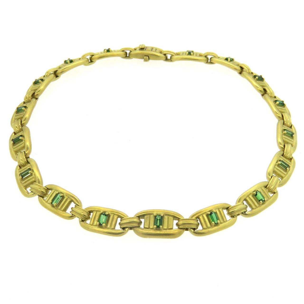 1980s Barry Kieselstein Cord Gold Green Tourmaline Necklace
