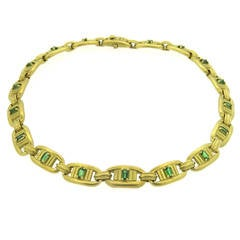 1980s Barry Kieselstein Cord Gold Green Tourmaline Necklace