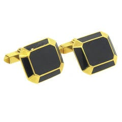 Large Deakin & Francis Black Enamel and Gold Cufflinks