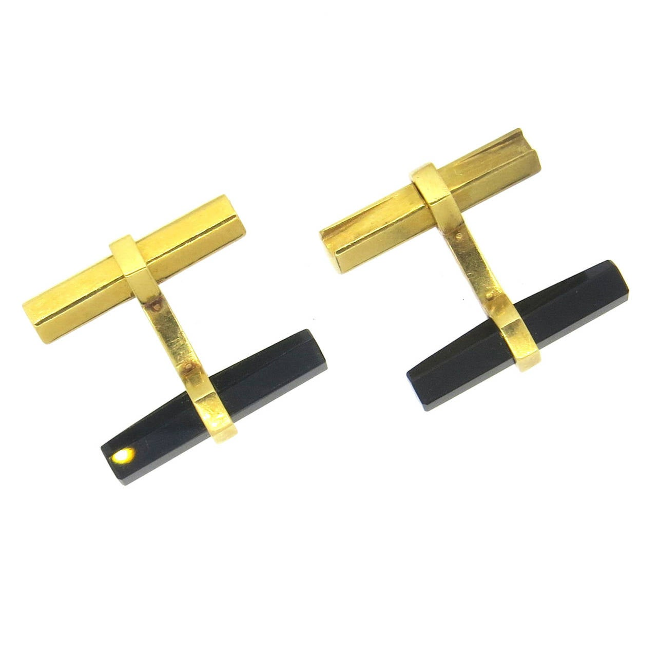 Classic Cartier Paris Onyx and Gold Cufflinks