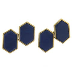 Mid Century Lapis Lazuli Gold Cufflinks