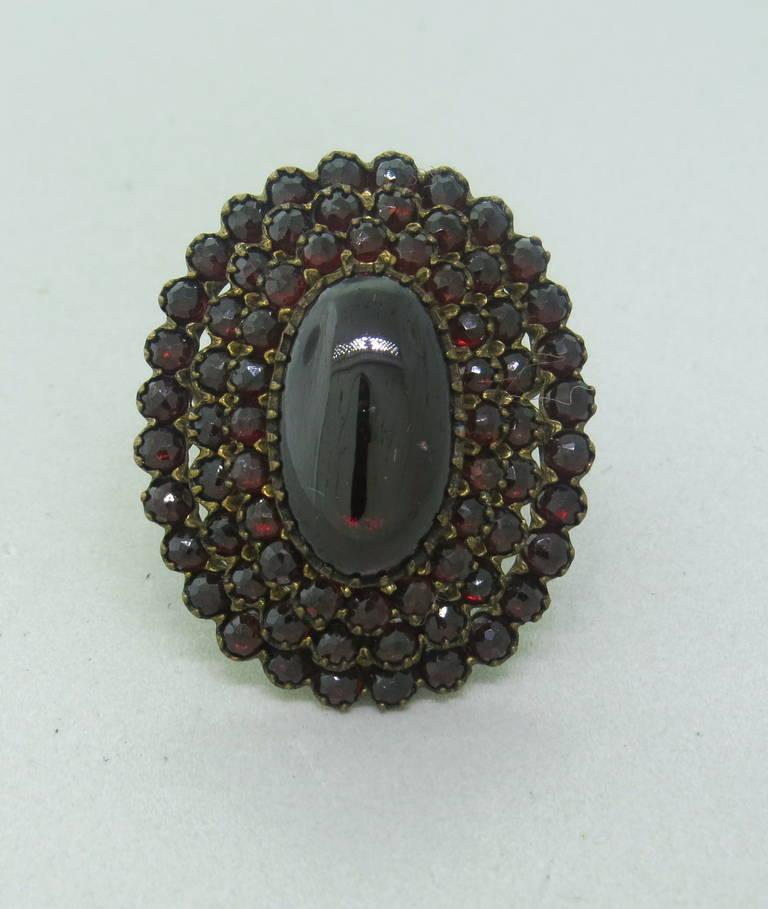 Antique Bohemian Garnet Cocktail Ring 2