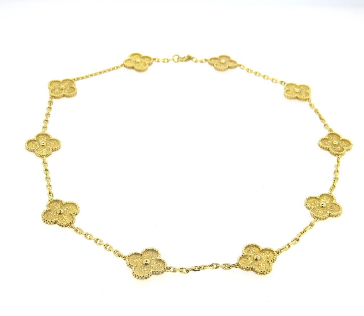 Clover Necklace Van Cleef: Van Cleef And Arpels Vintage Alhambra Gold Ten Clover