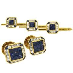 Exquisite Sapphire Diamond Gold Cufflinks and Stud Dress Set