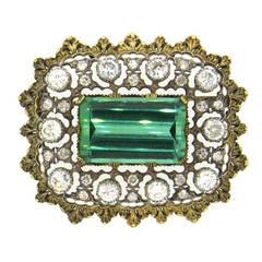 Impressive Buccellati Green Tourmaline Diamond Gold Brooch Pin