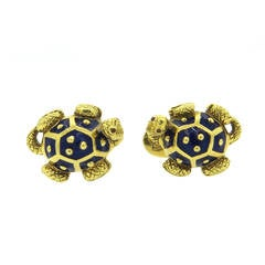 Large Hidalgo Enamel Gold Turtle Cufflinks