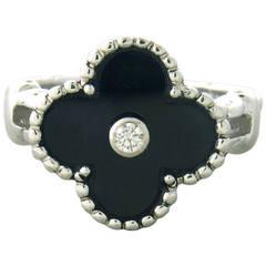 Van Cleef & Arpels VCA Alhambra Onyx Diamond Ring