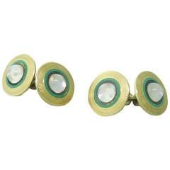Art Deco Enamel Moonstone Gold Cufflinks