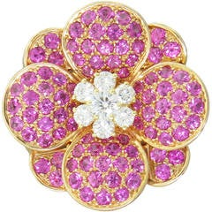 Van Cleef Arpels Pink Sapphire Diamond Gold Flower Brooch