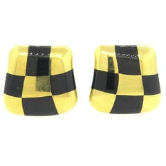 1980s Angela Cummings Jade Inlay Gold Checkerboard Earrings