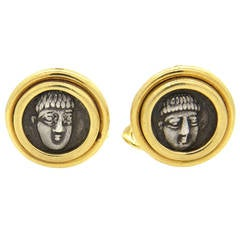 Bulgari Campania Phistelia IV Ancient Coin Gold Cufflinks