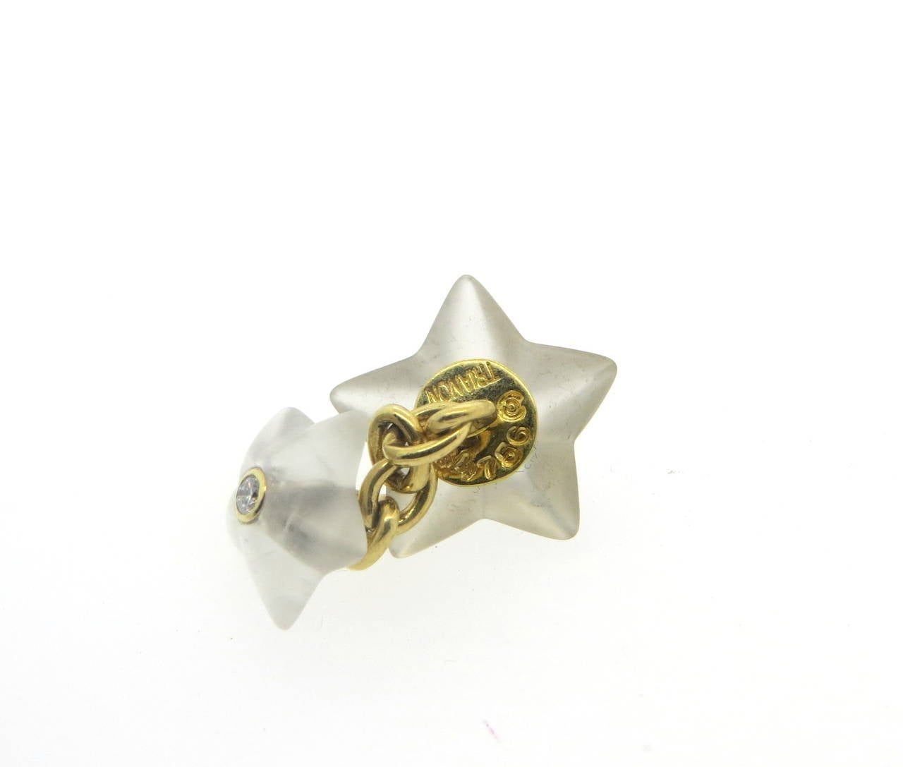 Trianon Carved Frosted Crystal Diamond Gold Star Cufflinks Stud Dress Set In New Condition For Sale In Lahaska, PA