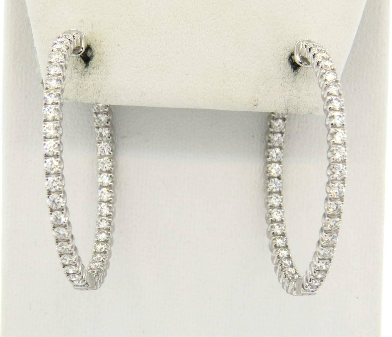 42b8457f4 Women's Tiffany & Co. Metro Inside Out Diamond Gold Hinged Hoop Earrings  For Sale