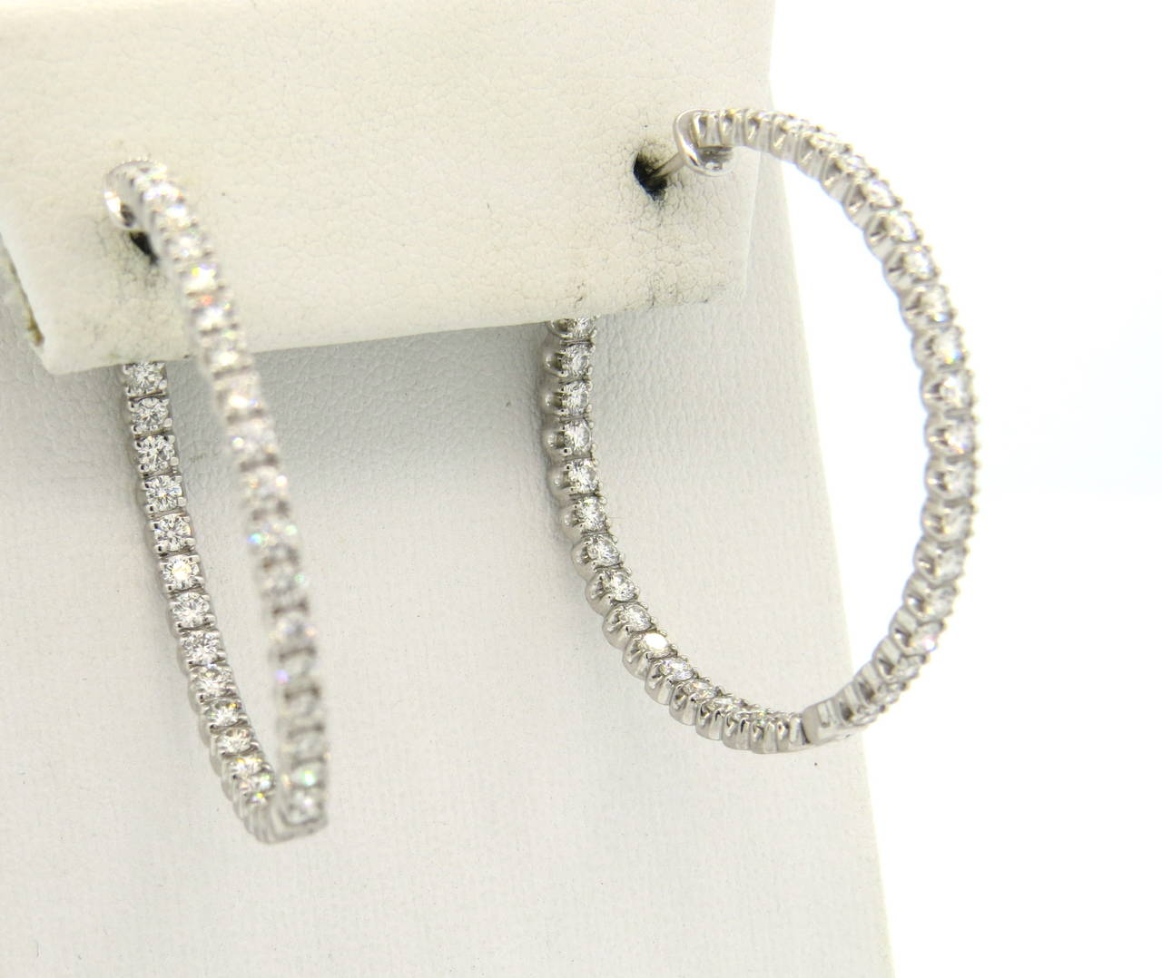 c81429fae Tiffany & Co. Metro Inside Out Diamond Gold Hinged Hoop Earrings In  Excellent Condition For