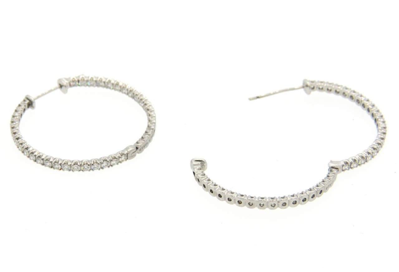 18d815b7a Impressive 18k white gold hoops, crafted by Tiffany & Co for Metro  collection, set