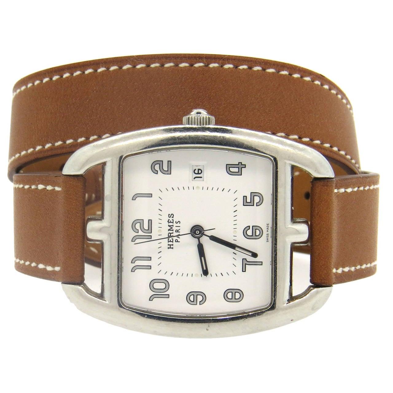 Hermes Stainless Steel Cape Cod Tonneau Wrap Bracelet Watch Ref Ct1 710 For