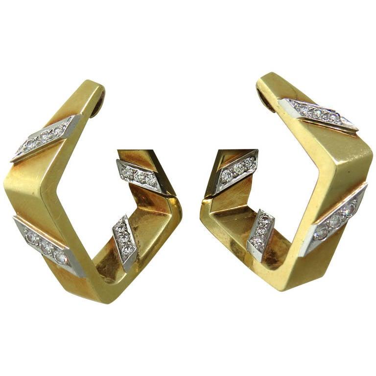 1960s Geometric Diamond Gold Hoop Earrings
