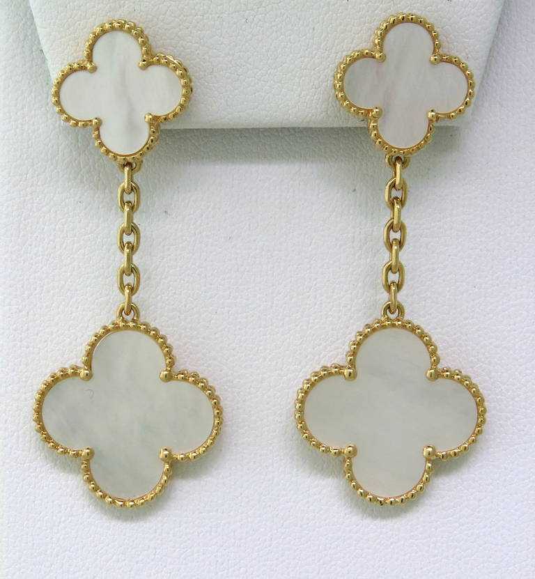 2c26b7284 18k gold Van Cleef & Arpels drop earrings from Magic Alhambra collection,  featuring mother of