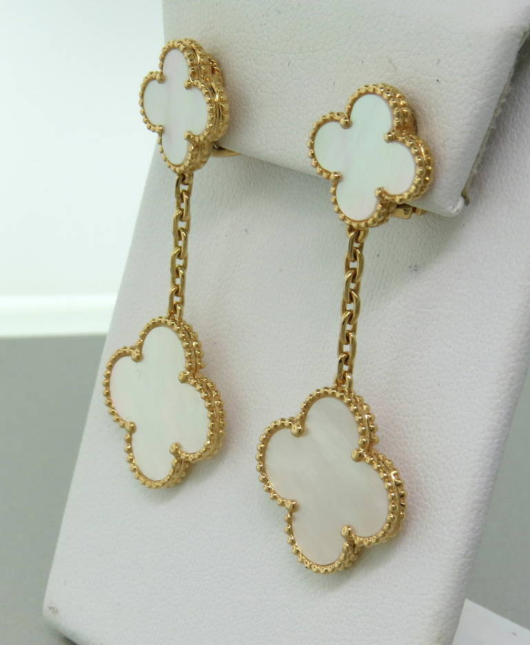 Van Cleef Arpels Magic Alhambra Mother Of Pearl Gold Drop Earrings In Excellent Condition For