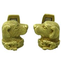 Kieselstein Cord Gold Dog Cufflinks
