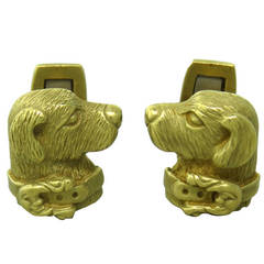 Kieselstein Cord Gold Dog Cufflinks
