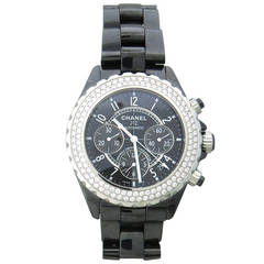 Chanel Lady's Black Ceramic and Diamond J12 Chronograph Wristwatch