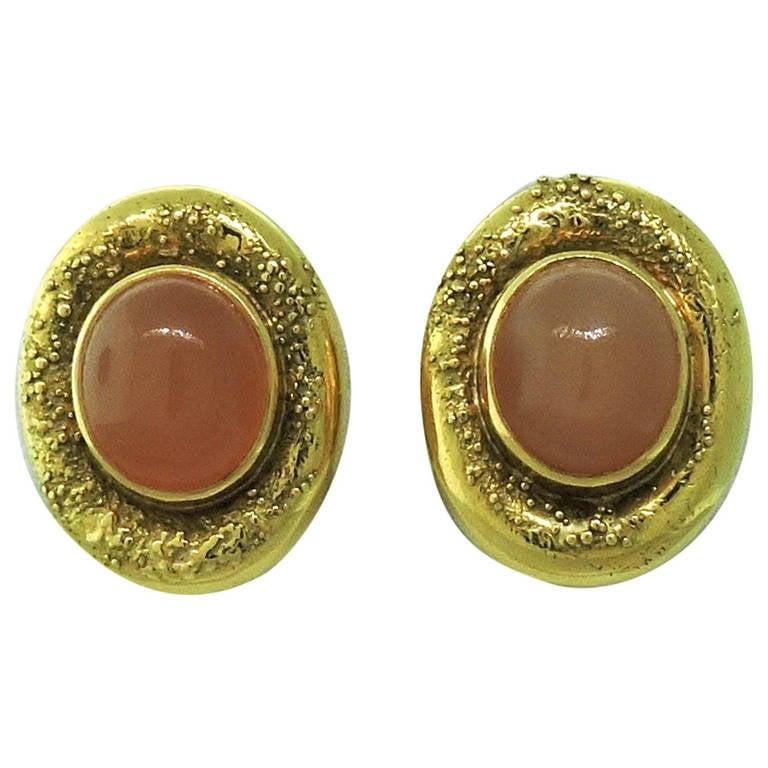 Elizabeth Gage Peach Moonstone Gold Earrings 1