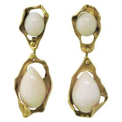 Angel Skin Coral Gold Drop Earrings