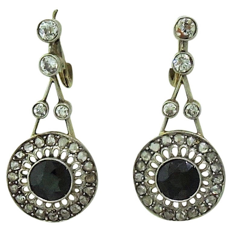 antique sapphire gold dangle earrings at 1stdibs