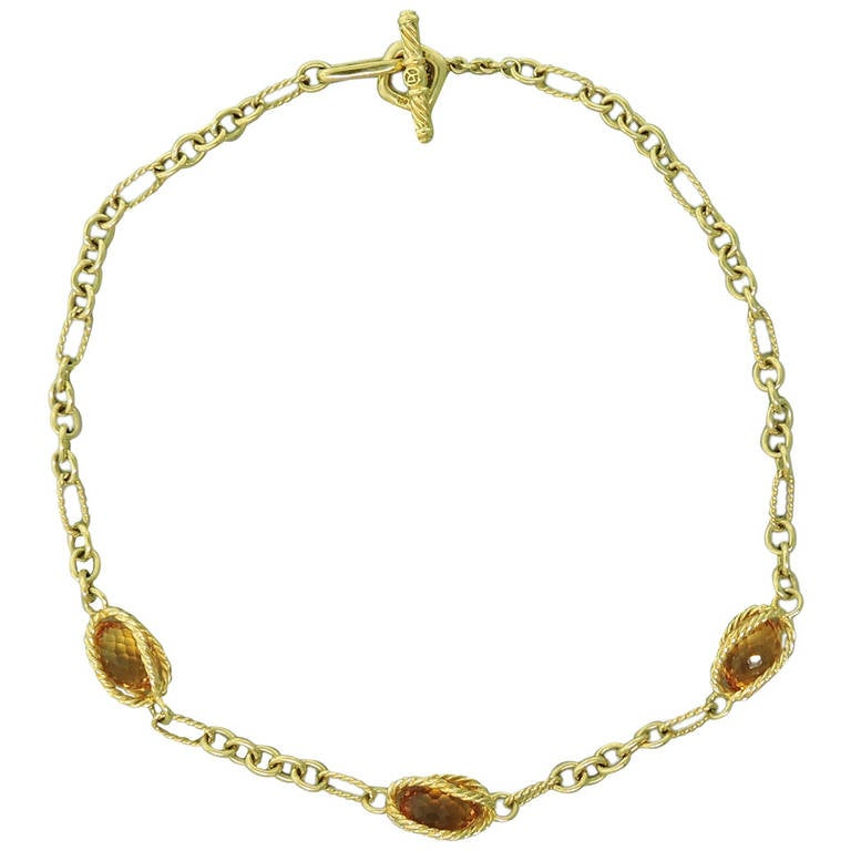 david yurman citrine gold toggle necklace at 1stdibs