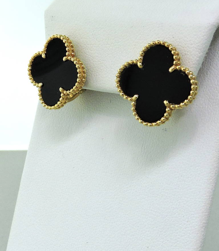 Large Size Van Cleef Arpels 18k Gold Earrings From Vintage Alhambra Collection Featuring Onyx