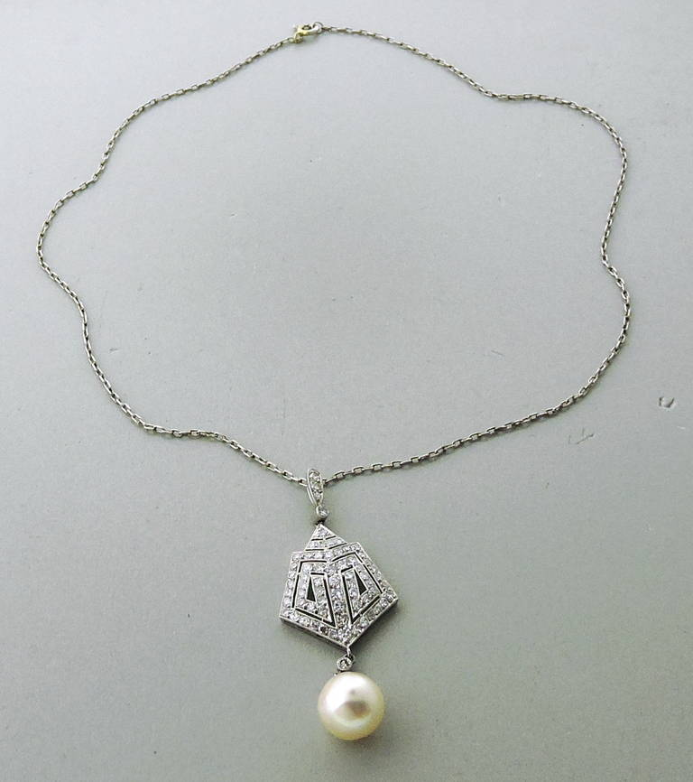 deco pearl gold platinum pendant necklace at 1stdibs