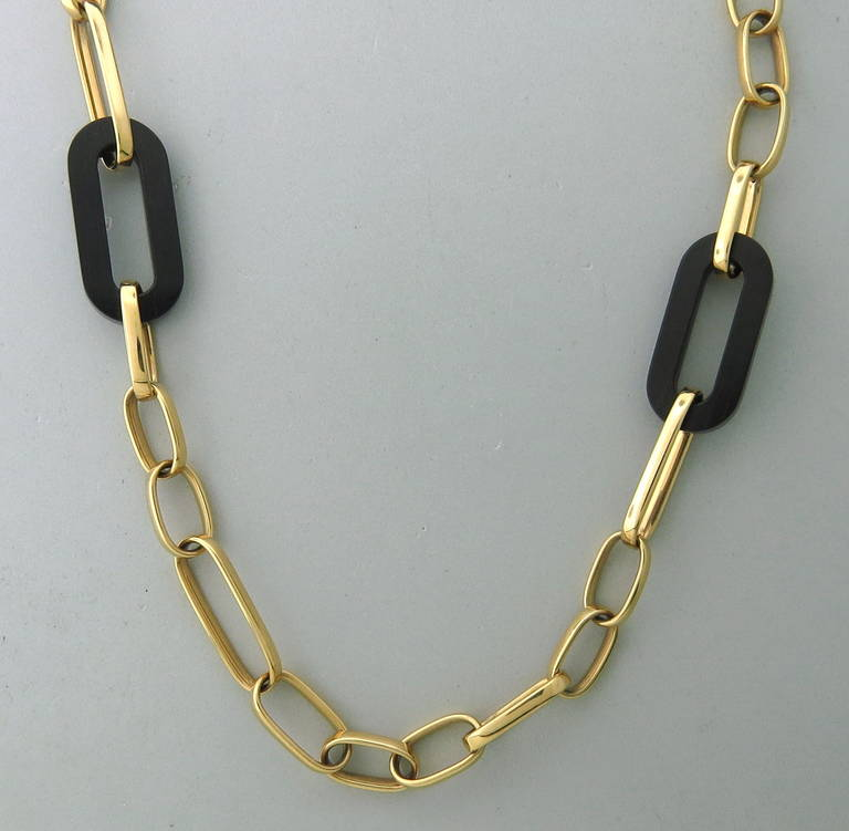 modern italian wood gold large link necklace at 1stdibs