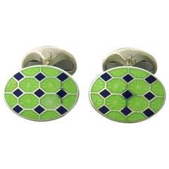 Deakin & Francis Blue Green Enamel Sterling Silver Cufflinks