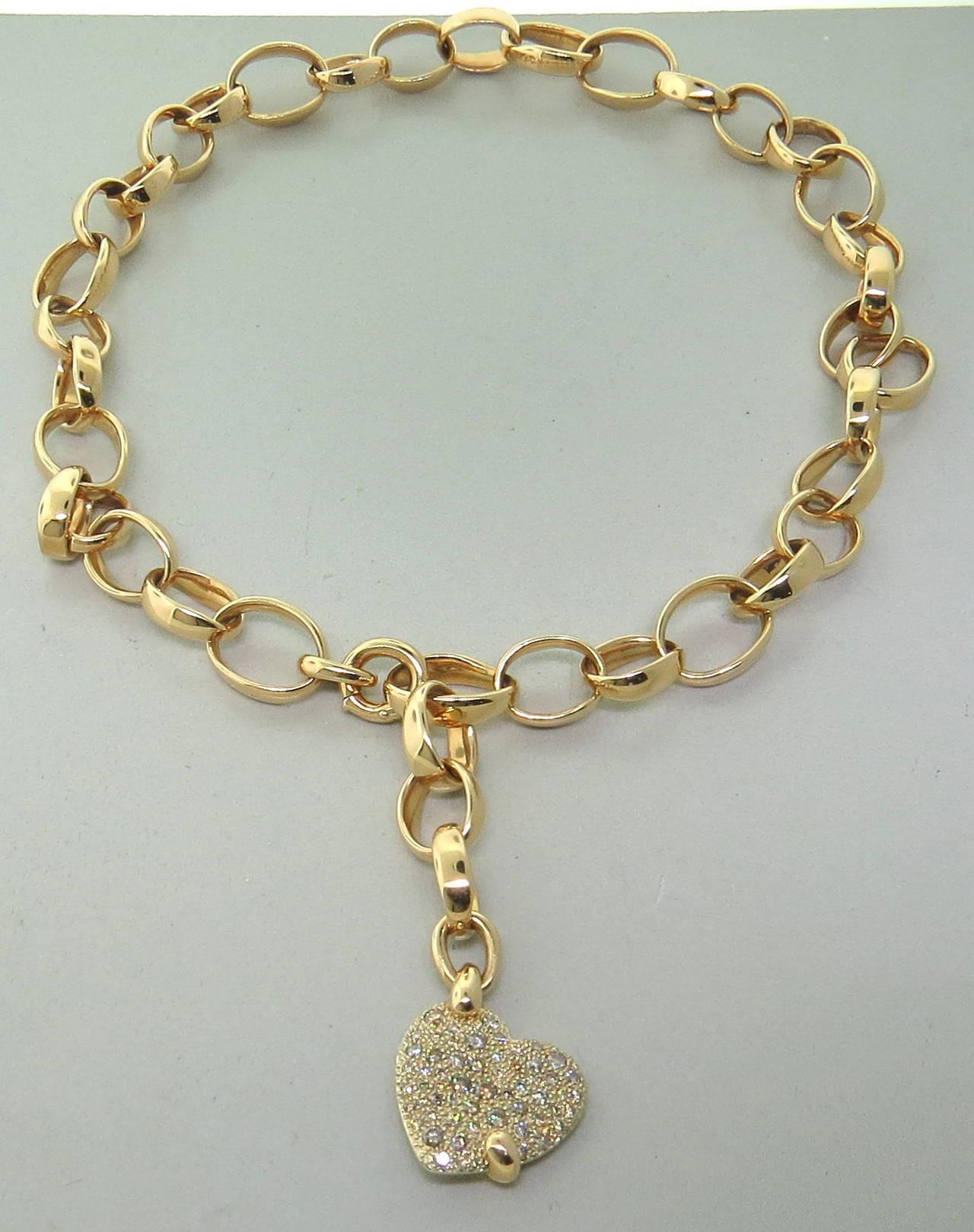 Pomellato Sabbia Diamond Gold Heart Charm Necklace at 1stdibs
