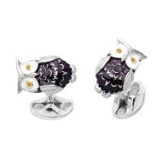 Deakin & Francis Sapphire Sterling Silver Owl Cufflinks