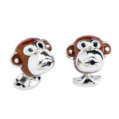 Deakin & Francis Enamel Sterling Silver Monkey Cufflinks