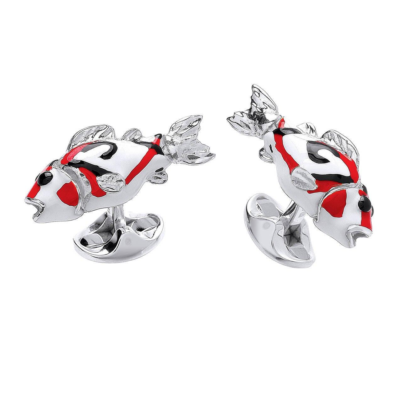 Deakin & Francis Enamel Sterling Silver Koy Fish Cufflinks