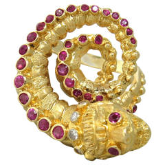 Ilias Lalaounis Ruby Diamond Gold Chimera Ring