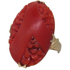 Victorian Carved Coral Gold Ring