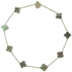 Van Cleef & Arpels Pure Alhambra Black Mother of Pearl Gold Nine Motif Necklace