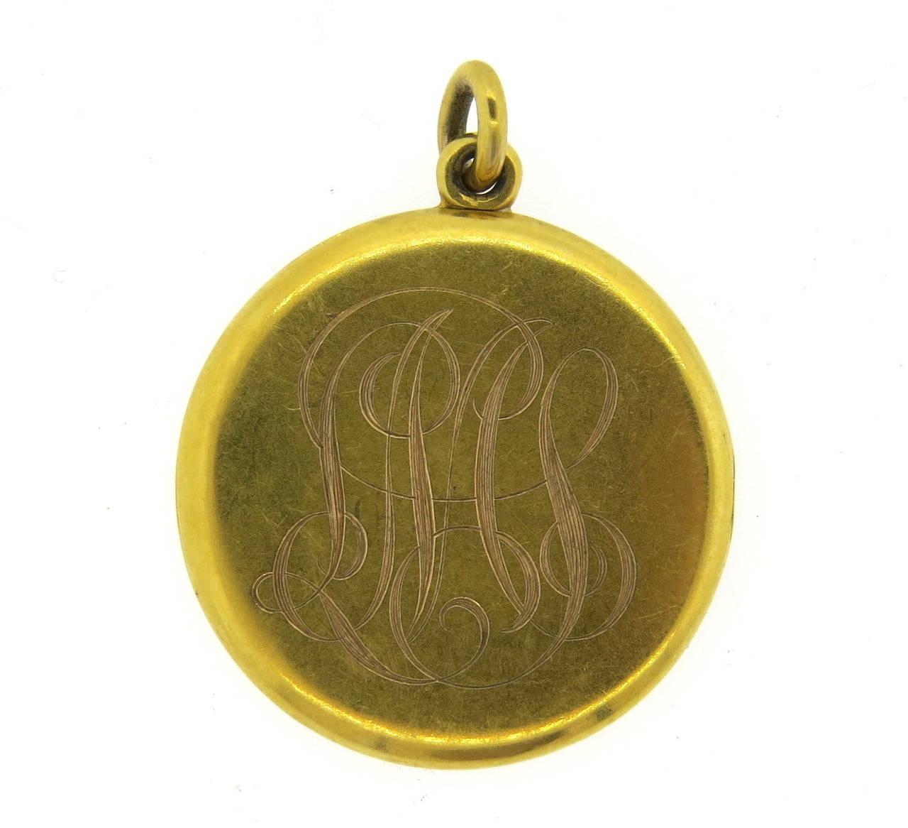 Art Nouveau Gold Nymph Flowing Hair Locket 2
