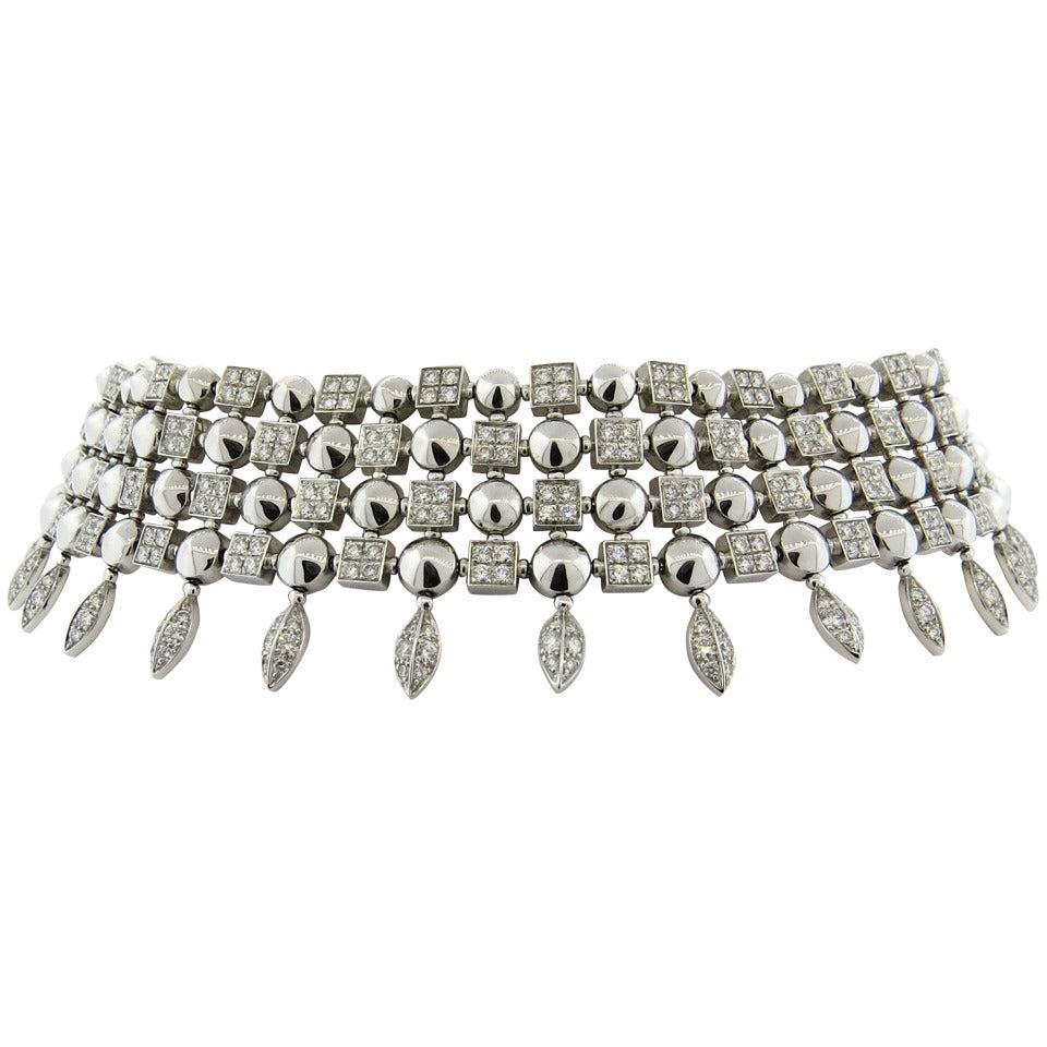 Gorgeous Bulgari Lucea Diamond Gold Choker Necklace For Sale