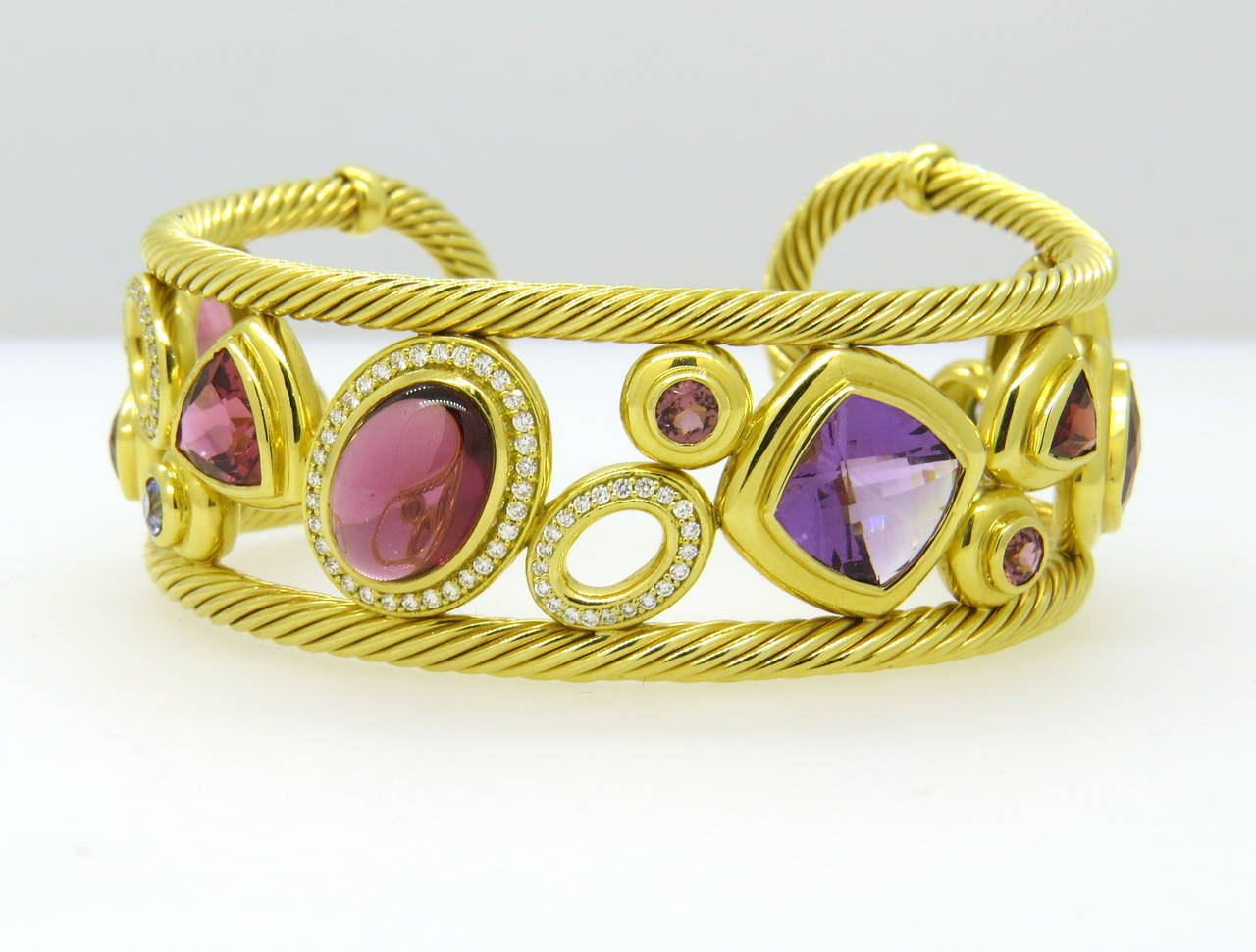 David Yurman 18k Gold Cuff Bracelet From Mosaic Collection Featuring Diamondulticolor Gemstones