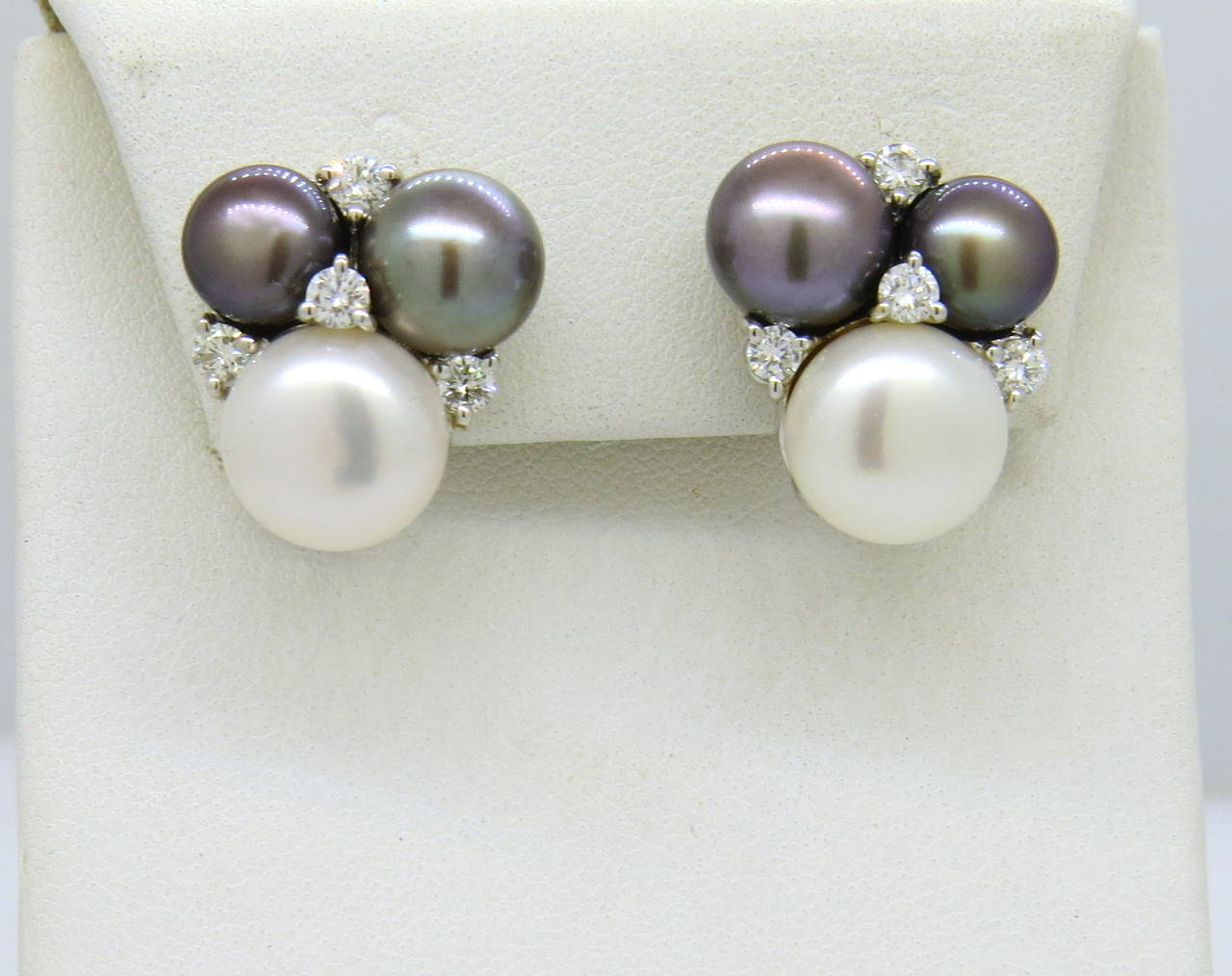 18k White Gold Earrings By Seaman Schepps With Pearls And Rox 0 60ctw In G