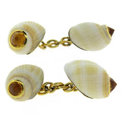 Trianon Citrine Gold Shell Cufflinks