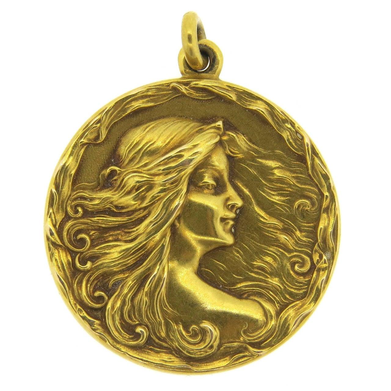 Art Nouveau Gold Nymph Flowing Hair Locket 1
